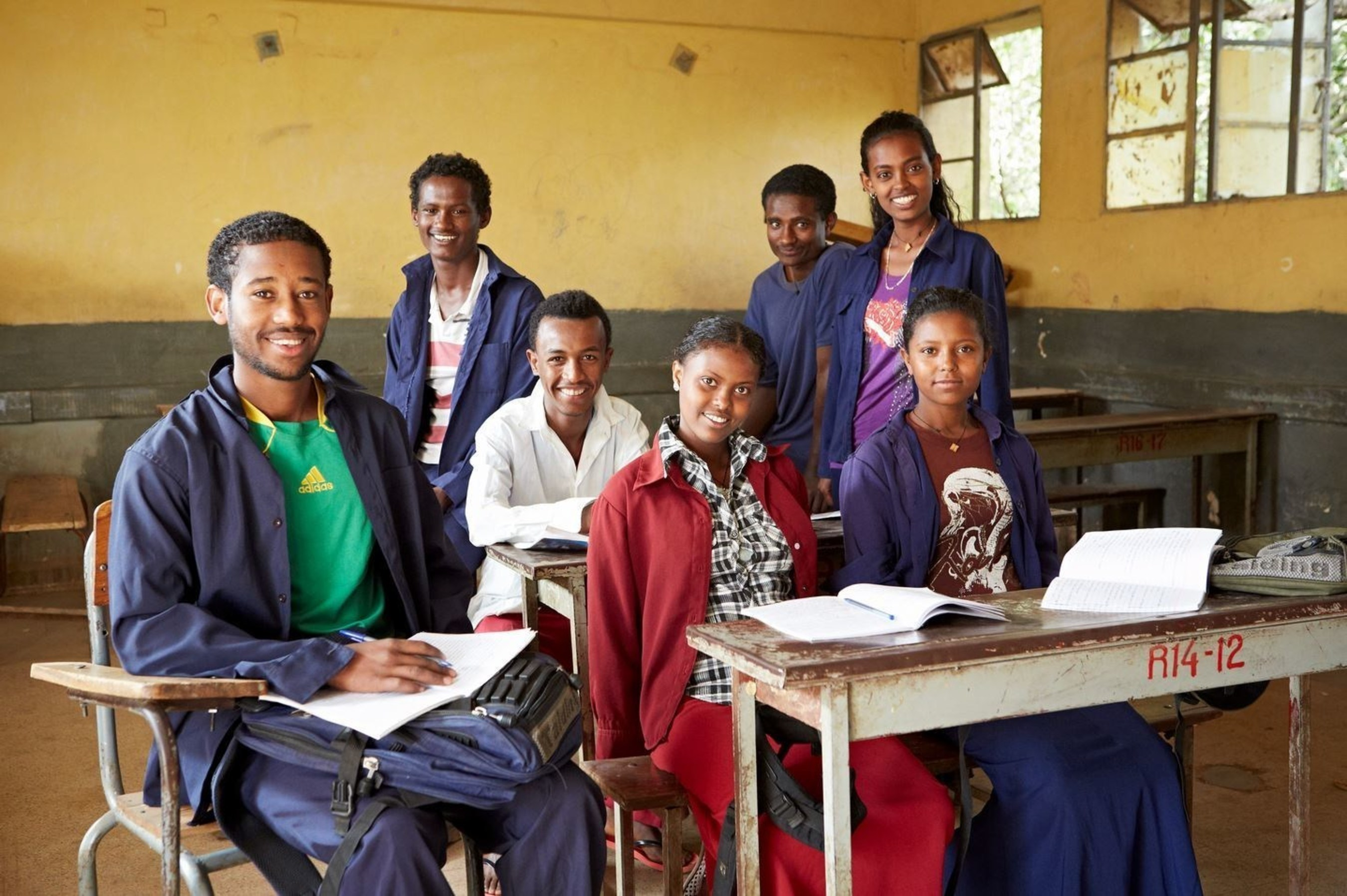 Group portrait of youth supported by SOS Children's Villages in classroom in Bahir Dar, Ethopia. Credit: Michela Morosini