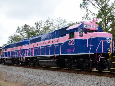 The Florida East Coast Railway recognizes breast cancer awareness with paint scheme of two locomotives. (PRNewsFoto/Florida East Coast Railway) (PRNewsFoto/Florida East Coast Railway)