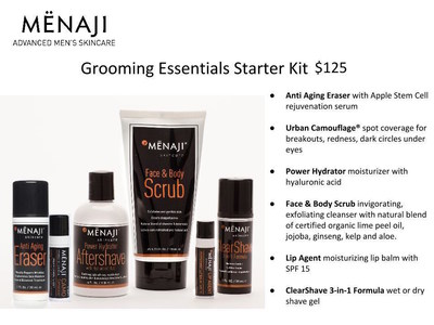Updated and improved to contain the products every man needs in his Dopp Kit by 2017, MENAJI Advanced Men's Skincare proudly presents it's Grooming Essentials Starter Kit for Men available only at www.menaji.com