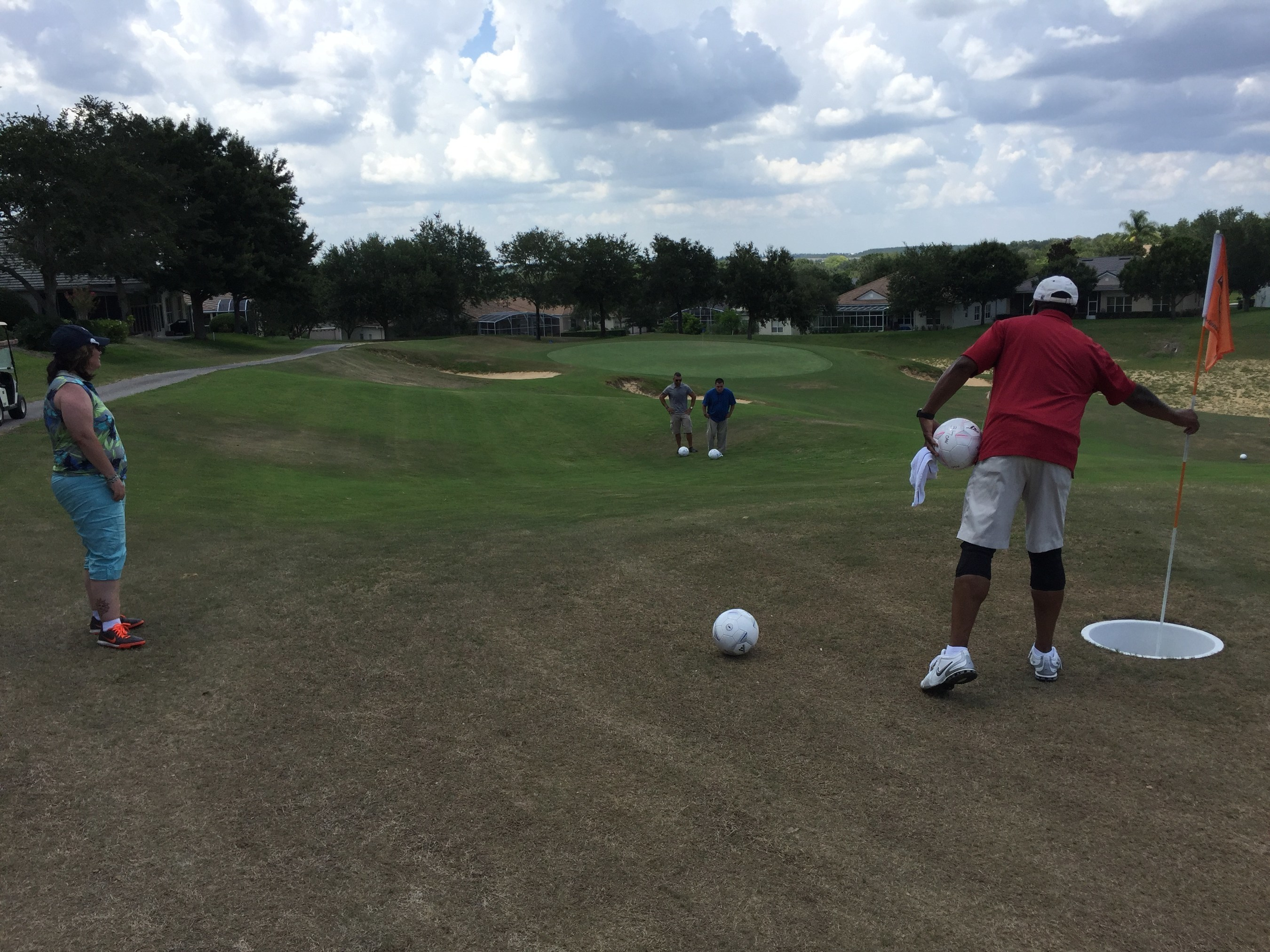 Warriors recently gathered to play a game of footgolf with Wounded Warrior Project in Orlando, Florida on a hot summer day.