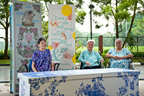 """Ladies without fear. (Left to right) Fellow residents of St Joseph's Home and Hospice, Magdalene, Elsie and Kitty are pictured here with their personalized """"Happy Coffins"""" that will house their final repose. (Source: Lien Foundation, Singapore).  (PRNewsFoto/Lien Foundation, Deanna Ng)"""