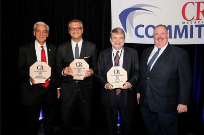 Recipients of the 2016 Responsible CEO of the Year Award from Corporate Responsibility (CR) Magazine.  (L to r) - Richard Shadyac, Jr., Manny Chirico, Richard Noll and Elliot Clark, CEO of Corporate Responsibility Magazine