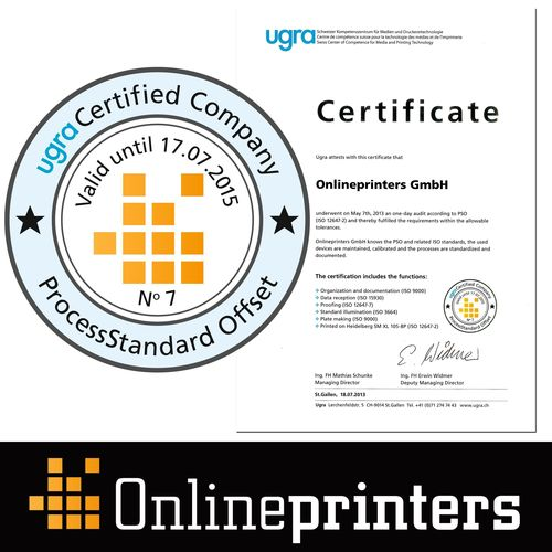 Certified print quality The PSO certificate guarantees stability and safety in the printing process. The renewed certification of the production of the German online print shop Onlineprinters GmbH in compliance with ProcessStandard Offset print (PSO) stands for the excellent print and colour quality of the print materials that are distributed via online shops Europe-wide. Copyright: Onlineprinters GmbH