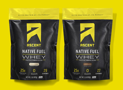 Ascent Whey Protein in vanilla bean and chocolate, also available in unflavored.