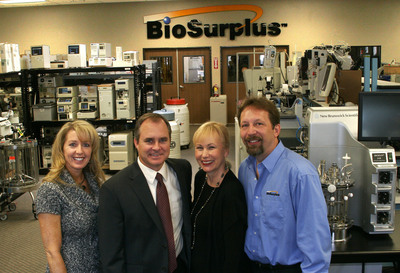 "Kathy Scott, CFO; Preston ""Cinco"" Plumb, CEO; Jackie Townsend, CMO and Fred Hill, VP of Auction Services.  (PRNewsFoto/BioSurplus)"