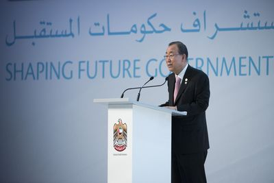 Ban Ki Moon Secretary General - UN - Government Summit 2015 (PRNewsFoto/The Government Summit)