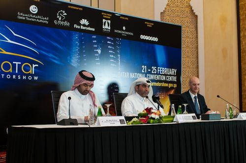 Qatar International Motor Show (QIMS) Returns for the Fourth Year from 21st to 25th February 2014. Representatives of the organizers announced at a press conference the details of the fourth edition of QIMS (from left), Mr. Jaber Al Ansari, Deputy Group CEO Entertainment, q.media; Mr. Hamad Alabdan, Director of Exhibitions, Qatar Tourism Authority; and Mr. Ricard Zapatero, International Director, Fira Barcelona at the announcement press conference in Doha. (PRNewsFoto/Qatar International Motor Show)