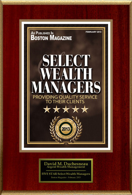 "David M. Duchesneau, Argent Wealth Management Selected For ""Select Wealth Managers"".  (PRNewsFoto/American Registry)"