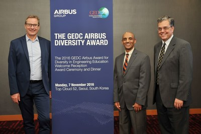 GEDC Airbus Diversity Award 2016 Recipient, Yacob Astatke, Interim Associate Dean of Engineering for Undergraduate Studies, Morgan State University, USA with Charles Champion, Airbus Executive Vice President Engineering (left) & Peter Kilpatrick GEDC Chairperson and Dean of Engineering, University of Notre Dame, USA (right)