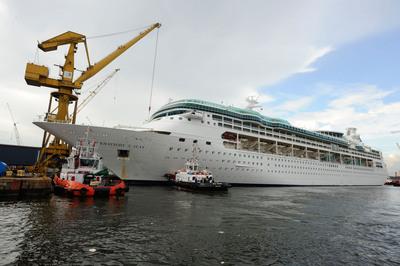 Rhapsody of the Seas Enters Singapore's Sembawang Ship Yard for a $54 Million, Month-long Revitalization.  (PRNewsFoto/Royal Caribbean International)