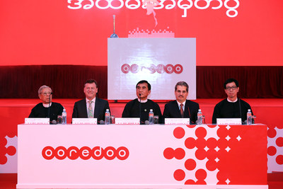 Dr. Nasser Marafih, Group CEO, Ooredoo speaks at the Ooredoo Myanmar's celebratory launch ceremony in Nay Pyi Taw on Thursday evening.