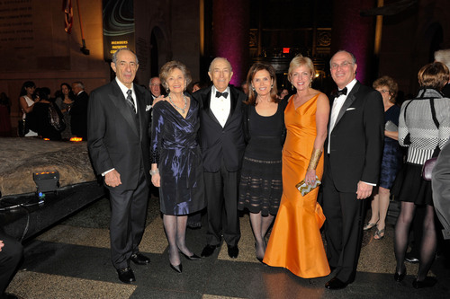 Former Governor Mario and Matilda Cuomo (left) salute S.L.E. Lupus Foundation Gala 2011 honorees Senator Frank Lautenberg and Bonnie Englebardt Lautenberg (center) along with Gala 2012 honorees Fern and Lenard Tessler (right). Held November 19 at the American Museum of Natural History, the Gala raised $2.5 million to support lupus research and patient services.  (PRNewsFoto/S.L.E. Lupus Foundation, Matthew Carasella)