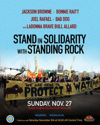 Jackson Browne And Bonnie Raitt Announce Benefit Concert At Standing Rock on Nov 27