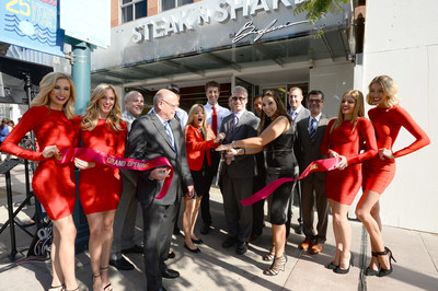 Steak 'n Shake executives along with iJustine and Maxim Girls celebrate the opening of the first LA-area Steak 'n Shake on the Third Street Promenade.