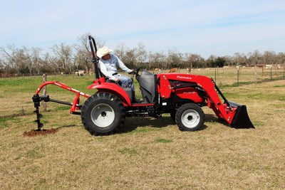Beginning with the 2003 agreement between Mahindra USA and Mitsubishi, the relationship has evolved to a global platform. Mitsubishi builds the Mahindra Max and 1500 series models. Pictured here: Mahindra 1533 loader with fence post digger.