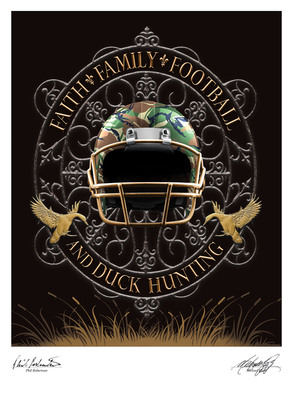 Football and Duck Hunting Limited Edition Lithograph Hand-signed by Duck Dynasty Star.  (PRNewsFoto/Hunt Studio)