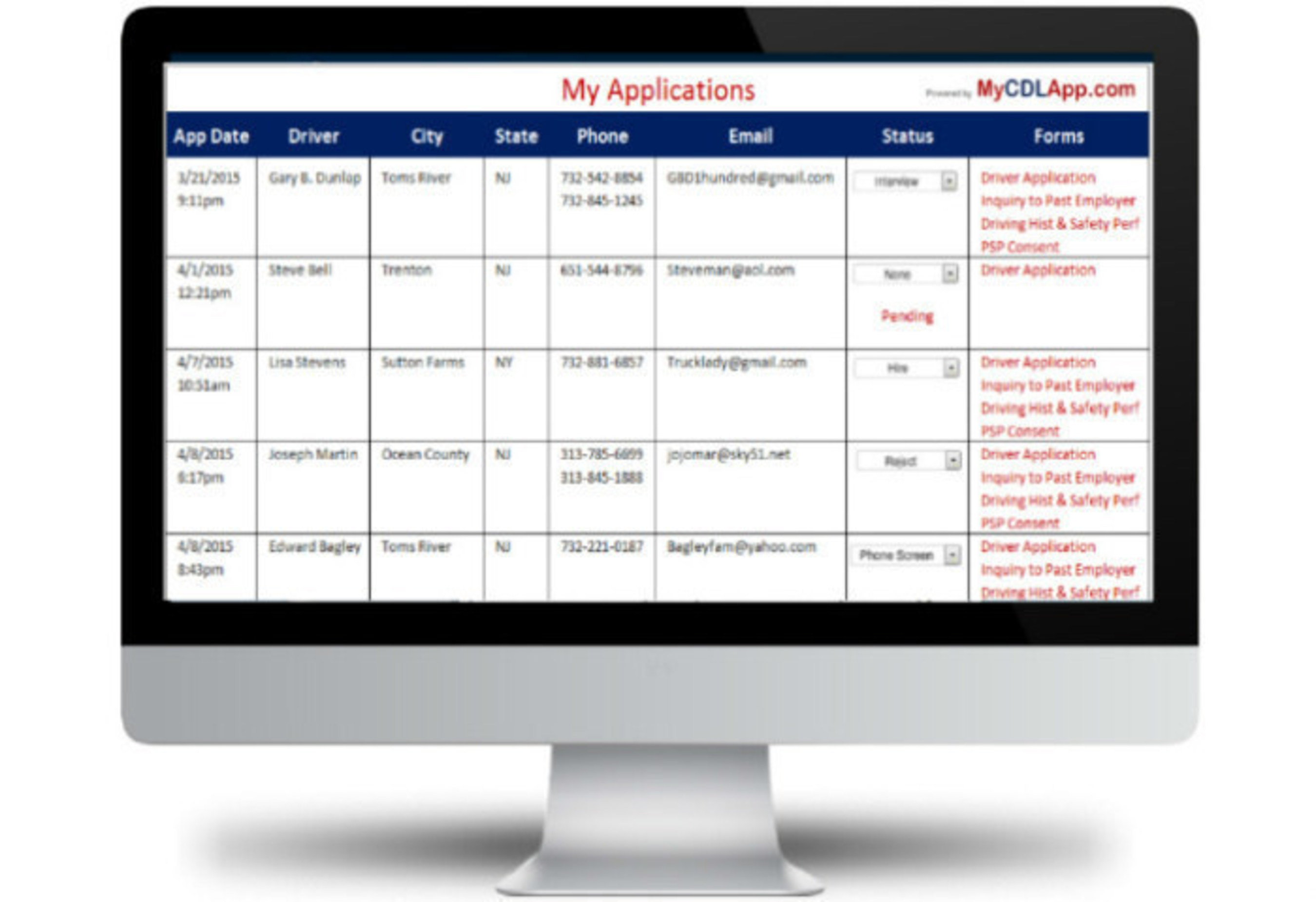 fmcsa compliant online employment application for cdl drivers adds