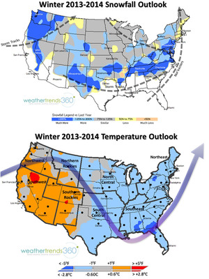 Weather Trends International's Winter 2013-2014 Weather Outlook. Snowfall Outlook Map (Top). Temperature Outlook (Bottom).  (PRNewsFoto/Weather Trends International)