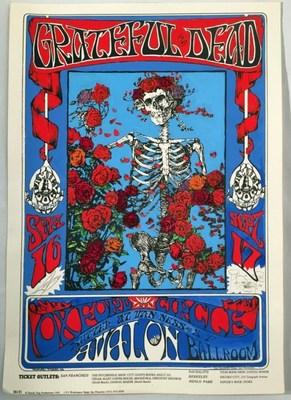 """Skeleton and Roses"" hand painted original silkscreen up for bid in the upcoming auction of rare Grateful Dead memorabilia taking place April 11-12 via Proxibid www.proxibid.com/greatamericanantiques."