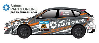 Bucky Lasek's WRX STI Sno*Drift Rally livery, presented by Subaru Parts Online.