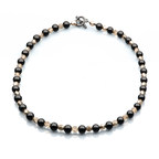 Artistic falls Black Onex and Czech Glass Fire Beaded Necklace
