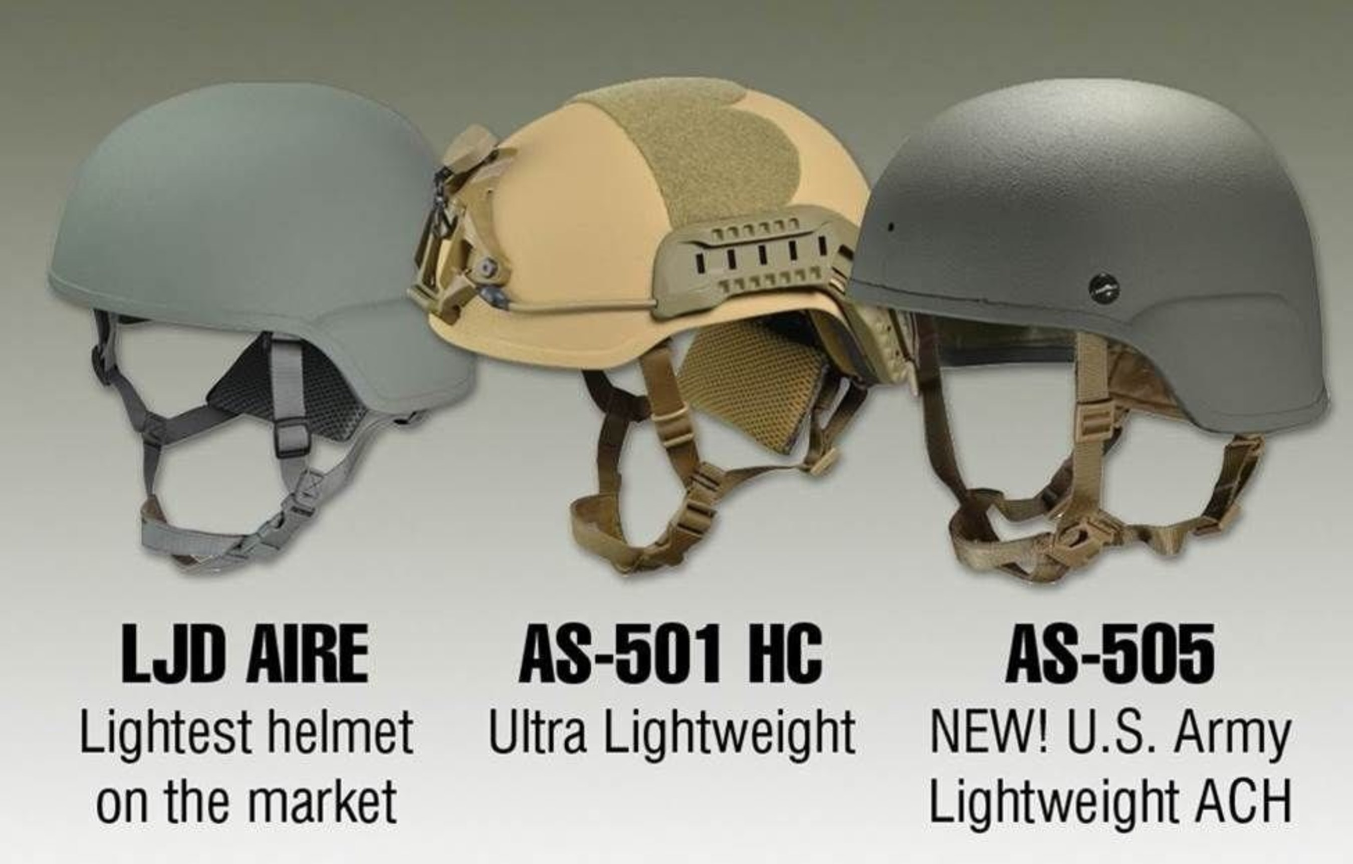 ArmorSource has introduced to the market its Ultra-lightweight Advanced Ballistic Helmet, the 'AS-501' in 2010, followed by the 'LJD-Aire', in 2015. The Aire Helmet is considered as the lightest Advanced Ballistic Helmet ever produced.