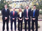 (From L to R) Tom Agan, Rob Riggio, Lauren Owens, Todd Stebbins, and Alex DeRosa from St. John Fisher College won Deloitte's 15th annual FanTAXtic business case competition.