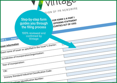 In advance of the Marcum event, Vintage offers its Regulation A+ Worksheet for Form 1-A. This document will guide Emerging Growth Companies and their advisors through the Reg A+ SEC filing process. Download the worksheet here: http://e.prnewswire.com/Vintage_RegA_Worksheet.html