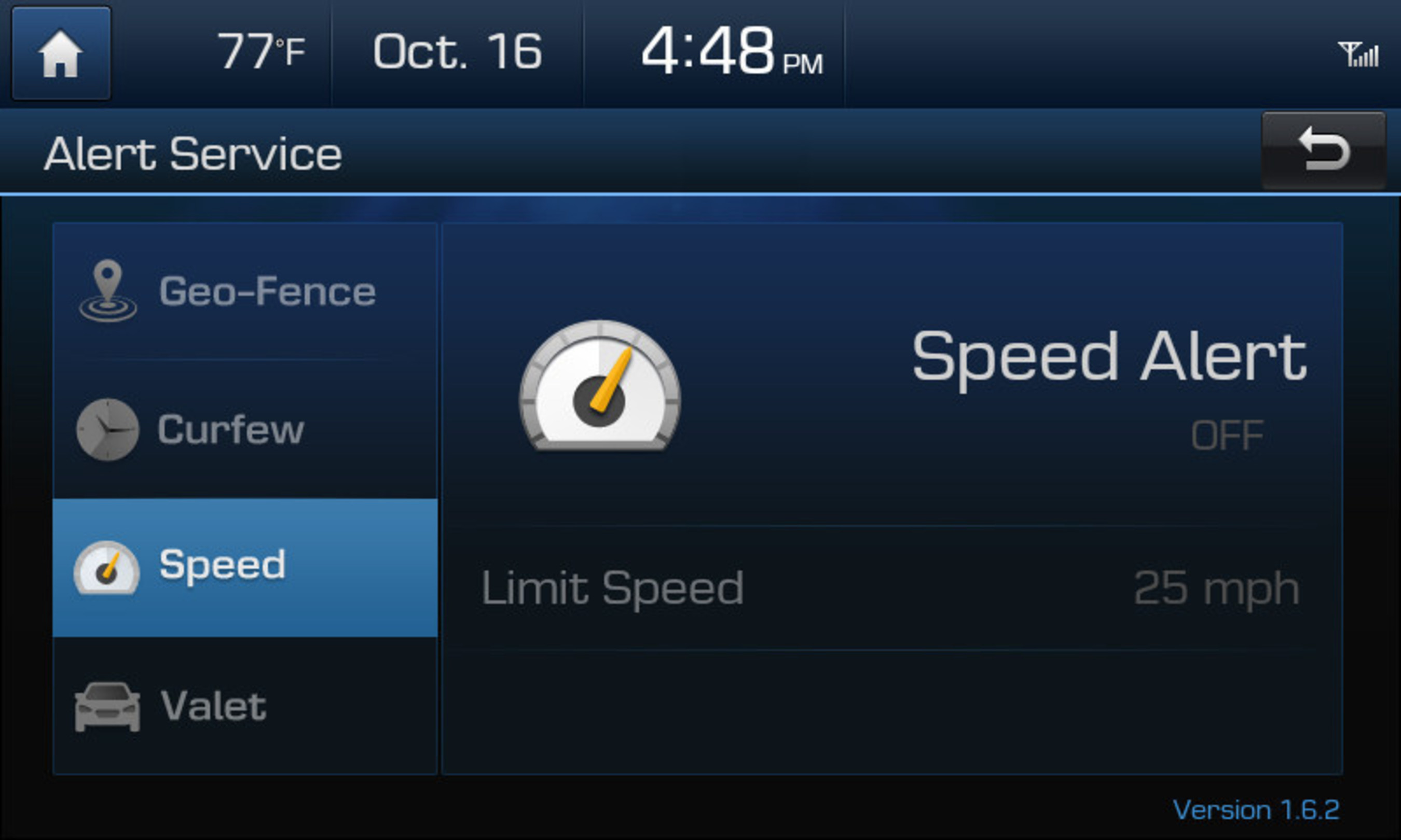 Hyundai Blue Link Vehicle Safeguards Alerts In-Vehicle App Speed Alert on the multimedia screen of a 2015 Azera