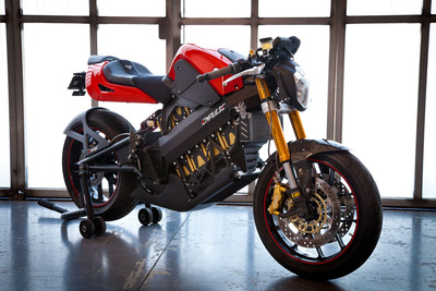 The Brammo Empulse electric motorcycle is capable of 100+mph and a range of 100 miles; deliveries start in 2011.  (PRNewsFoto/Brammo, Inc., Charles Lee)