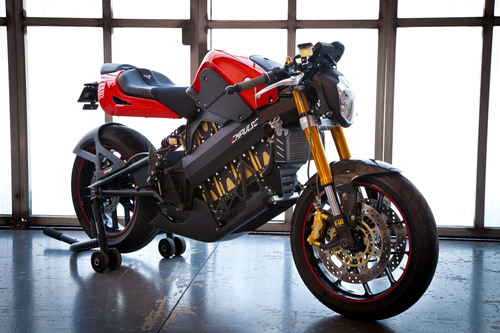 The Brammo Empulse electric motorcycle is capable of 100+mph and a range of 100 miles; deliveries start in ...