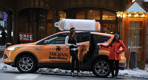 The rubber literally hits the road as Trojan Brand Condoms deploy a fleet of Trojan Safe Ride taxis to drive home the facts about condoms on February 14th and 15th.  (PRNewsFoto/TROJAN(TM) Brand Condoms)