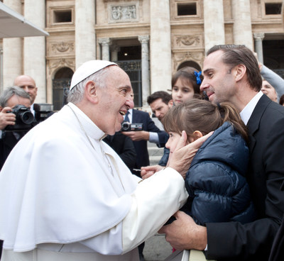 Rome, Italy - February 3, 2016: Risen star, Joseph Fiennes meets Pope Francis in St. Peter's Square, Vatican City.