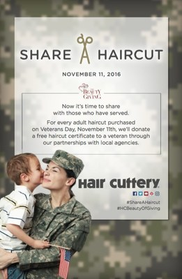 For every haircut purchased by Hair Cuttery patrons on Veterans Day, Friday, Nov. 11, a free haircut certificate will be donated back to a local veteran.