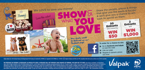 "Valpak ""Show Us What You Love"" Sweepstakes Allows Facebook Fans to Share Photos, Win Prizes.  ..."