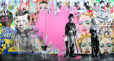 Mr. Brainwash (B. 1966 - ), Juxtapose, 2014, Stencil and Mixed Media on Canvas