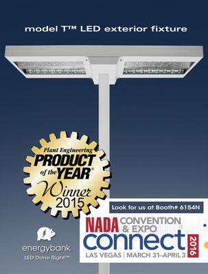 energybank model T LED exterior fixture for superior automotive merchandising named  Product of the Year by Plant Engineering. This is the third Product of the Year win for Founder and CEO Neal Verfuerth. Come see us at NADA Mar 31 - Apr 3 at Las Vegas to learn more about LED Done Right. www.energybankinc.com