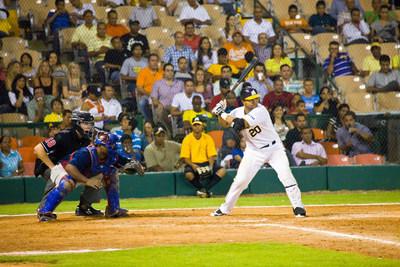 Baseball game at Santiago Stadium with the home team, Aguilas Cibaenas.