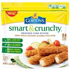 Gorton's Seafood has reinvented the fish stick with the launch of all new Smart & Crunchy Fish Sticks! Made with 100% wild-caught Alaska Pollock and breaded in a panko coating that gives them a great crunch, Smart & Crunchy fish sticks are always crispy, never fried! Plus, they have 50% less fat than Gorton's regular Fish Sticks and are 180 calories per serving.