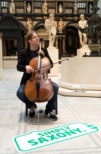 A musical treat from Saxony - Jan Vogler performing in front of visitors to the Victoria & Albert Museum in London. (PRNewsFoto/STATE CHANCELLERY OF SAXONY)