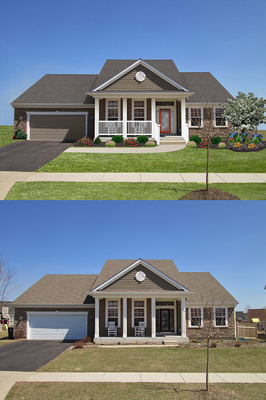 """""""Before and after"""" images of Meehan house, winners of the DaVinci Roofscapes 2014 """"Shake it Up"""" Exterior Color Contest. (PRNewsFoto/DaVinci Roofscapes)"""