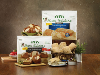 Sister Schubert's(R) Homemade Rolls Bring Restaurant-Quality Taste Home. New Soft Pretzel Rolls and Mini Baguettes are convenient and versatile additions to the Sister Schubert's(R) line of rolls.  (PRNewsFoto/Sister Schubert's Homemade Rolls)
