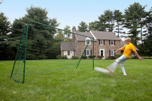New All-Green Soccer and Lacrosse Practice Goals Blend In with Backyard Scenery Rather than Stand