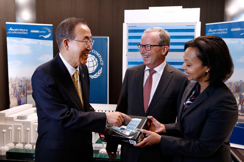 From left, U.N. Secretary-General Ban Ki-moon converses with LEGO Foundation Chairman Kjeld Kirk Kristiansen ...