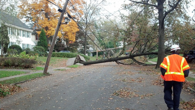 Verizon crews continue to restore services in severely damaged areas like Larchmont, N.Y.  (PRNewsFoto/Verizon)
