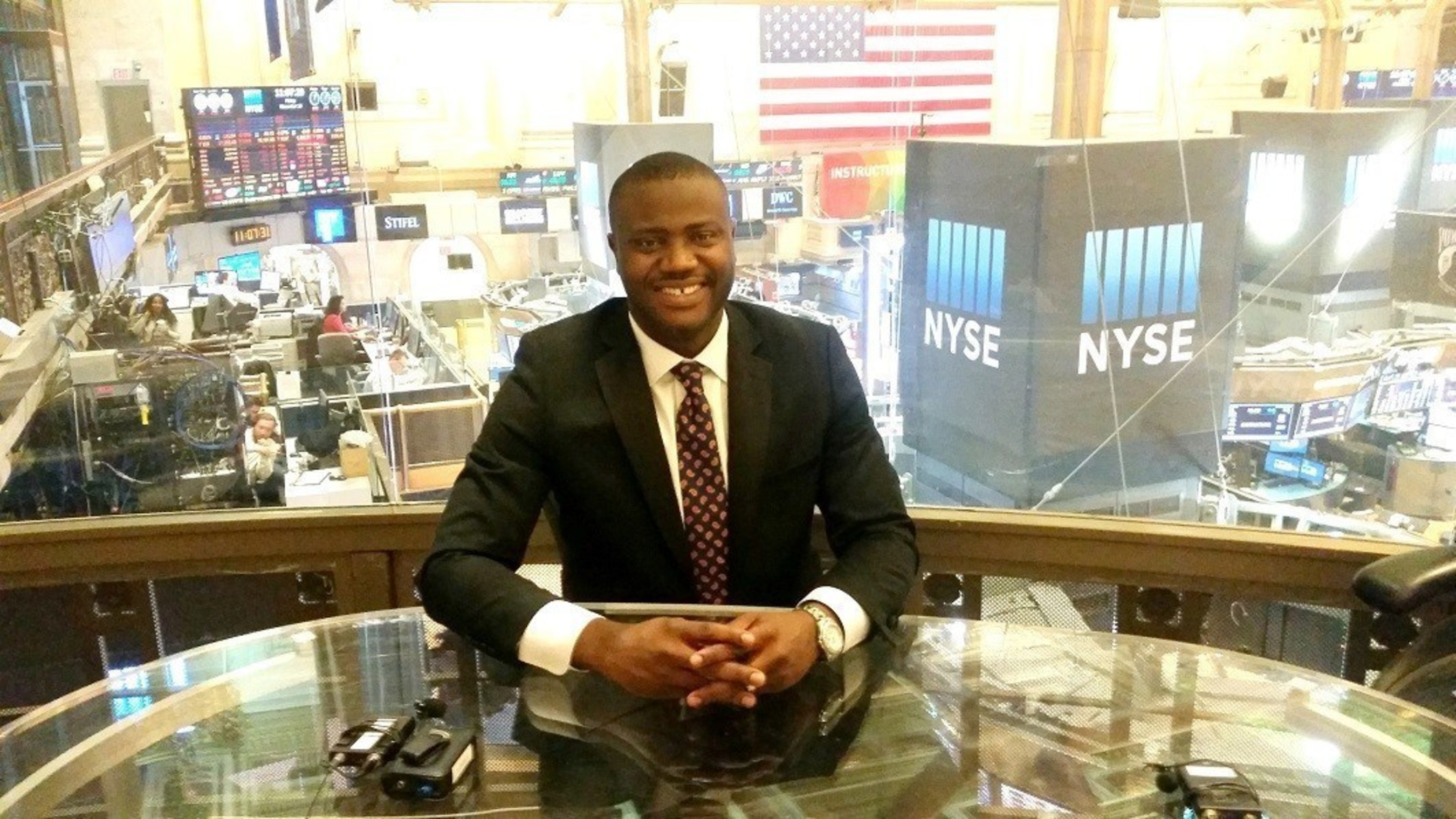 Dr. Kizito before his interview with Mike Norman on NYSE TV