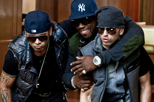 """Wisin y Yandel and 50 Cent during the mun2 exclusive behind-the-scenes shoot of their music video """"No ..."""