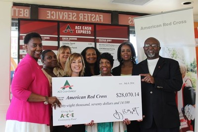 ACE employees present the American Red Cross with their $28,070 donation. (PRNewsFoto/ACE Cash Express)