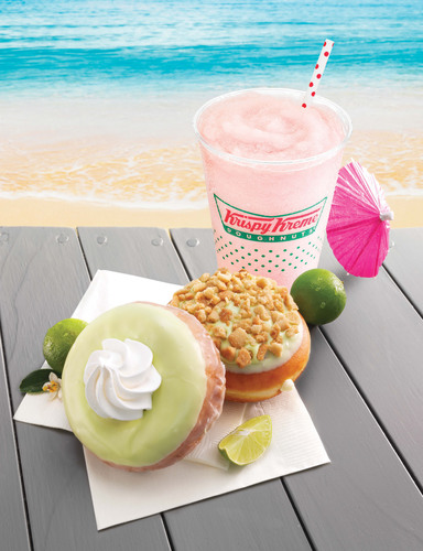 TAKE YOUR TASTEBUDS ON A STAYCATION! TRY NEW KEY LIME DOUGHNUTS AND STOP IN FOR A CHANCE TO WIN A STAYCATION GIVEAWAY FROM KRISPY KREME. KEYLIMESTAYCATION.COM.  (PRNewsFoto/Krispy Kreme Doughnut Corporation)