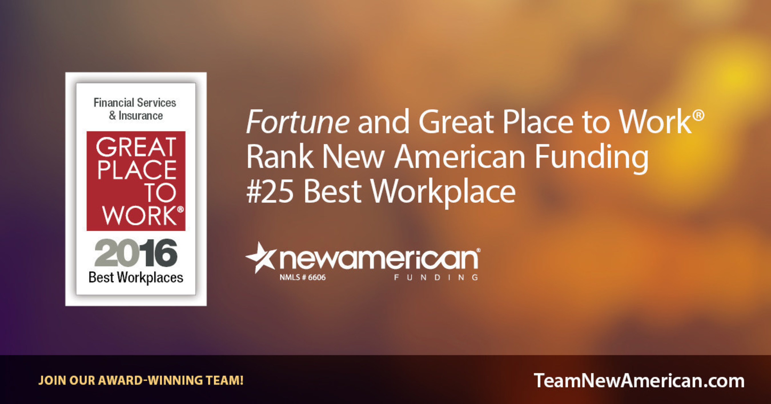 Fortune Names New American Funding #25 Best Workplace